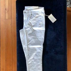 White denim mid-rise skinny jeans